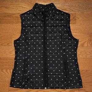 Black w White Polka dots Puffer Vest